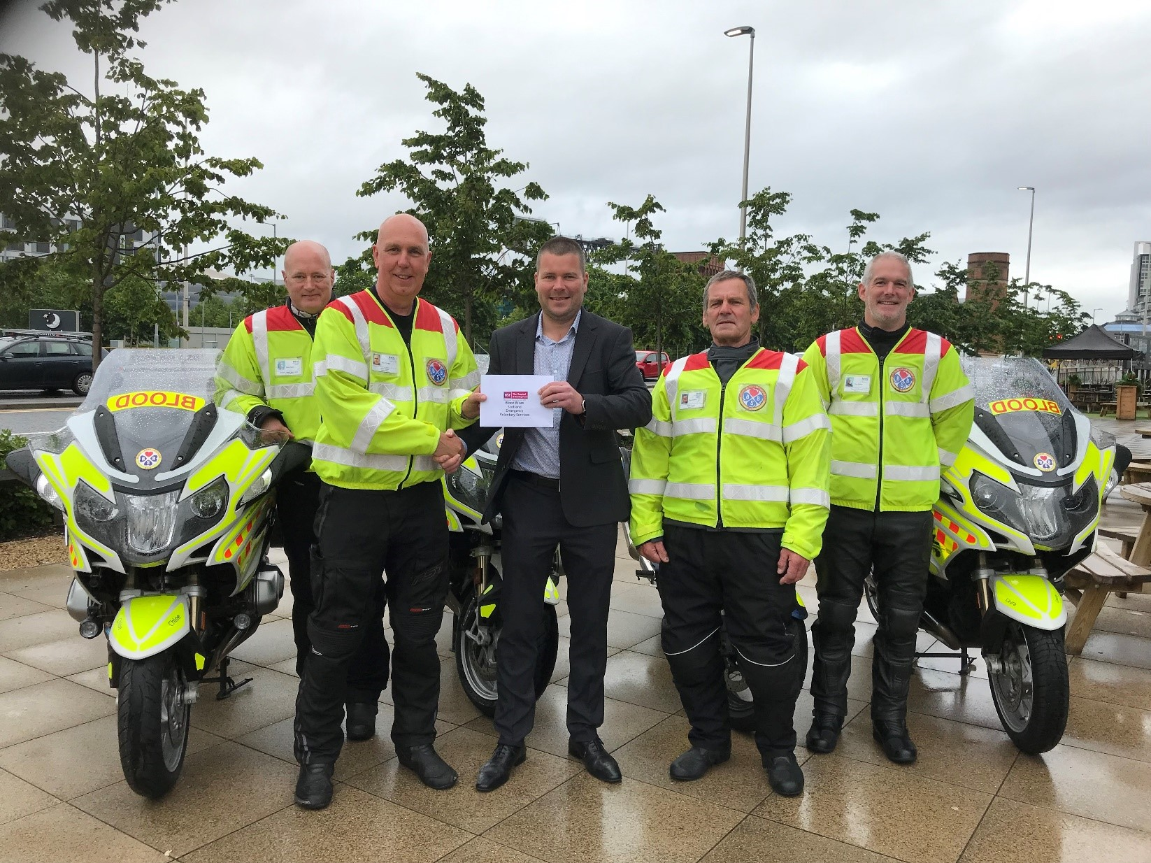 Warren Vale with some of the Blood Bikes Scotland volunteer crew